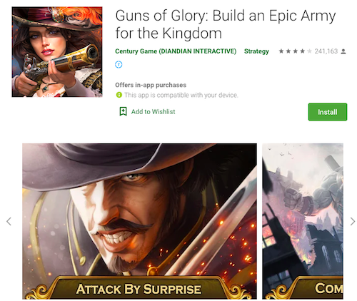 Screenshots from Google Play, Guns of Glory
