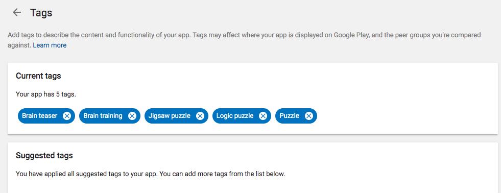Google Play tags