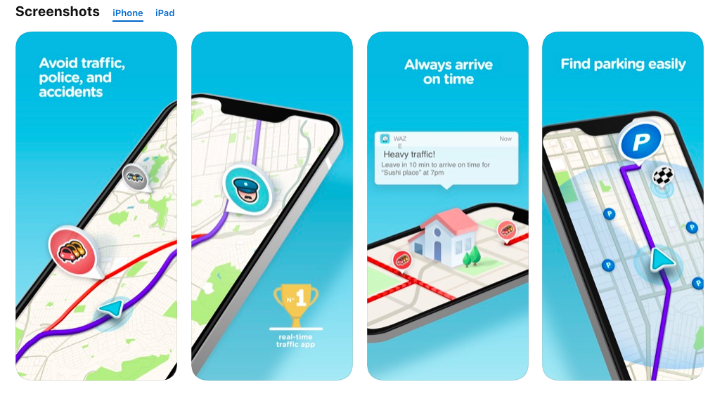 Screenshots for the App Store, Waze