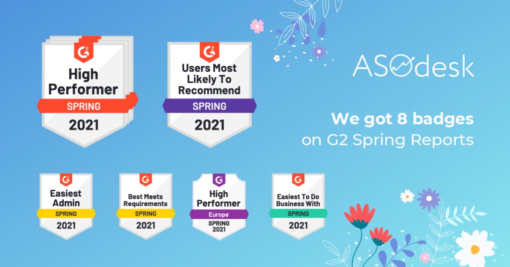 G2 platform gave 8 bages to ASOdesk