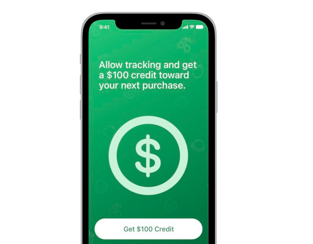 In the App Store you can't offer the rewards for tracking data