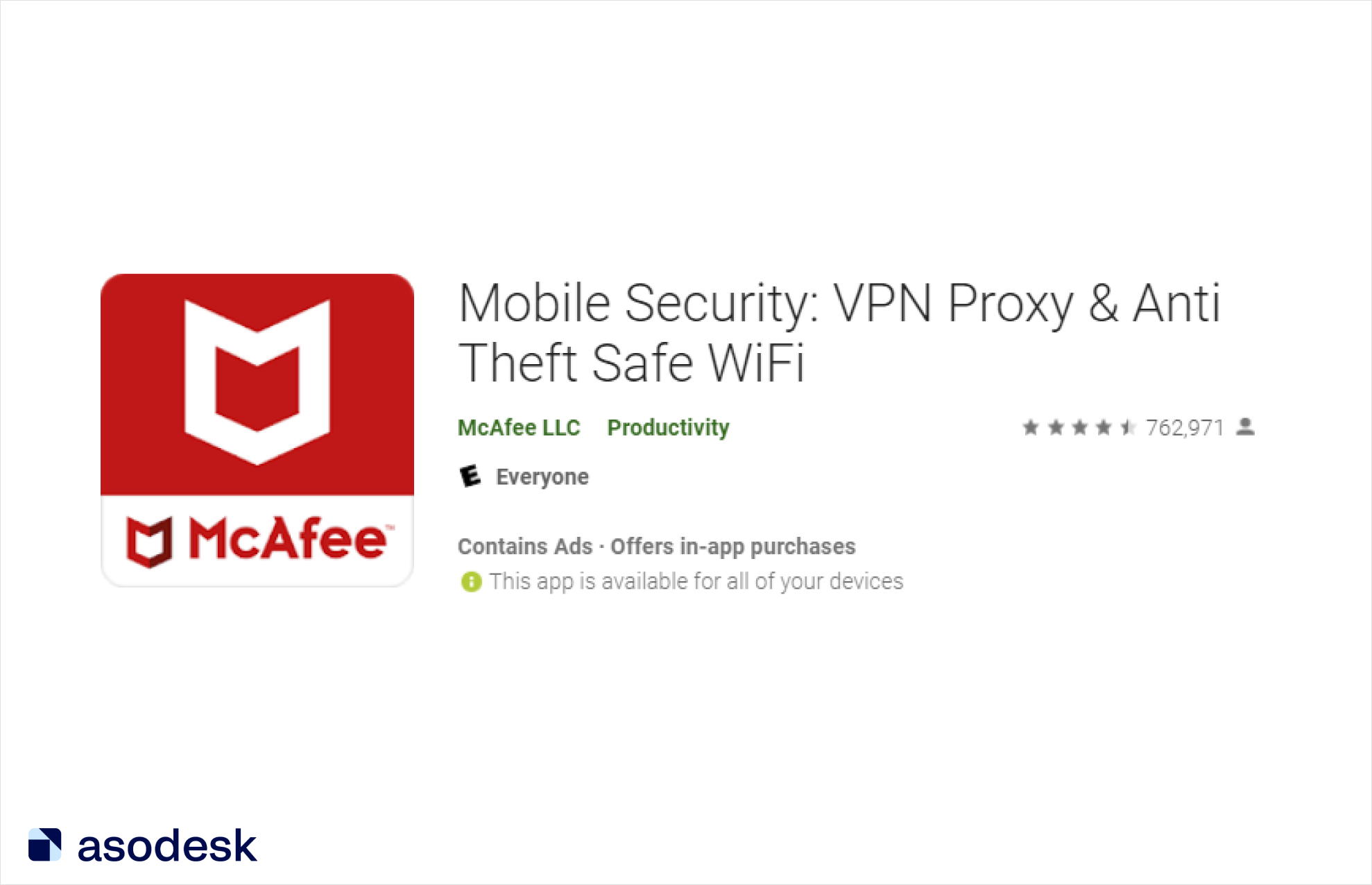 """McAfee brand name was placed on the icon while the keywords """"VPN"""" and """"Safe WiFi"""" were indicated in the app name"""