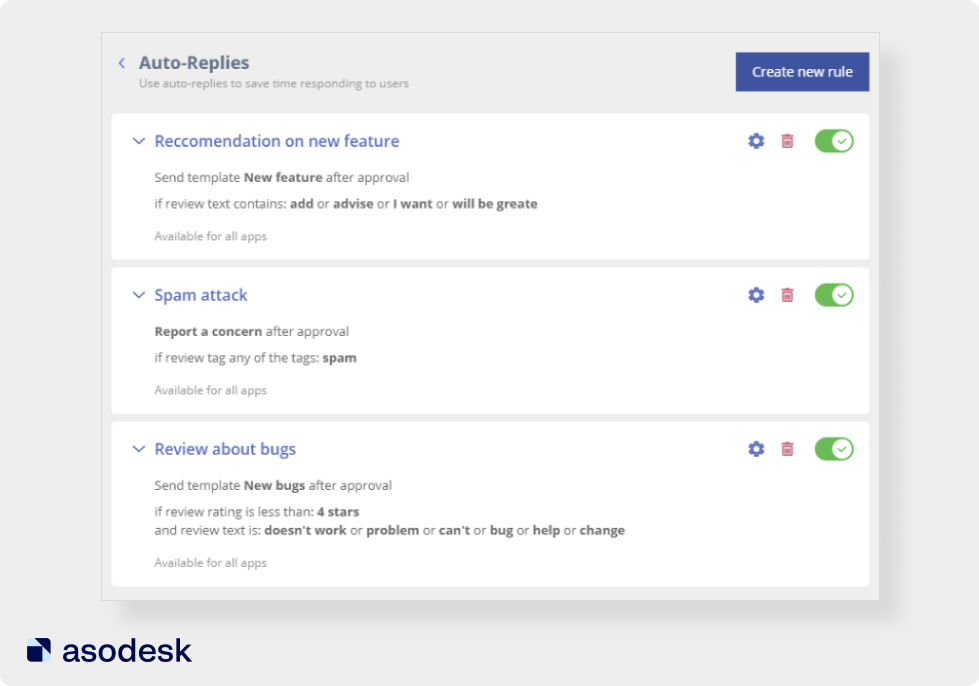 In Asodesk, you can set up automatic replies to reviews from the App Store and Google Play