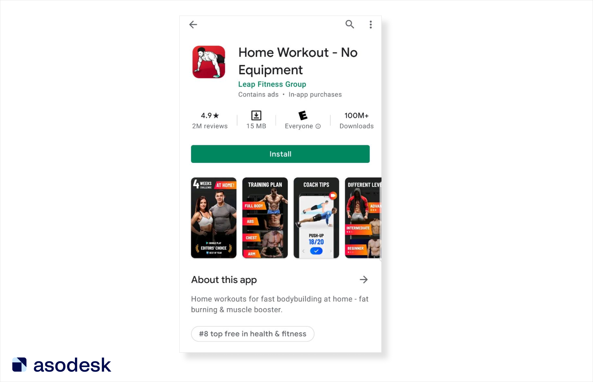 Home Workout page on Google Play