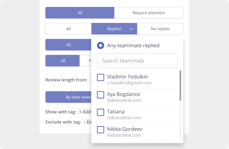 Analyze how each customer support manager responded to user reviews in the App Store and Google Play