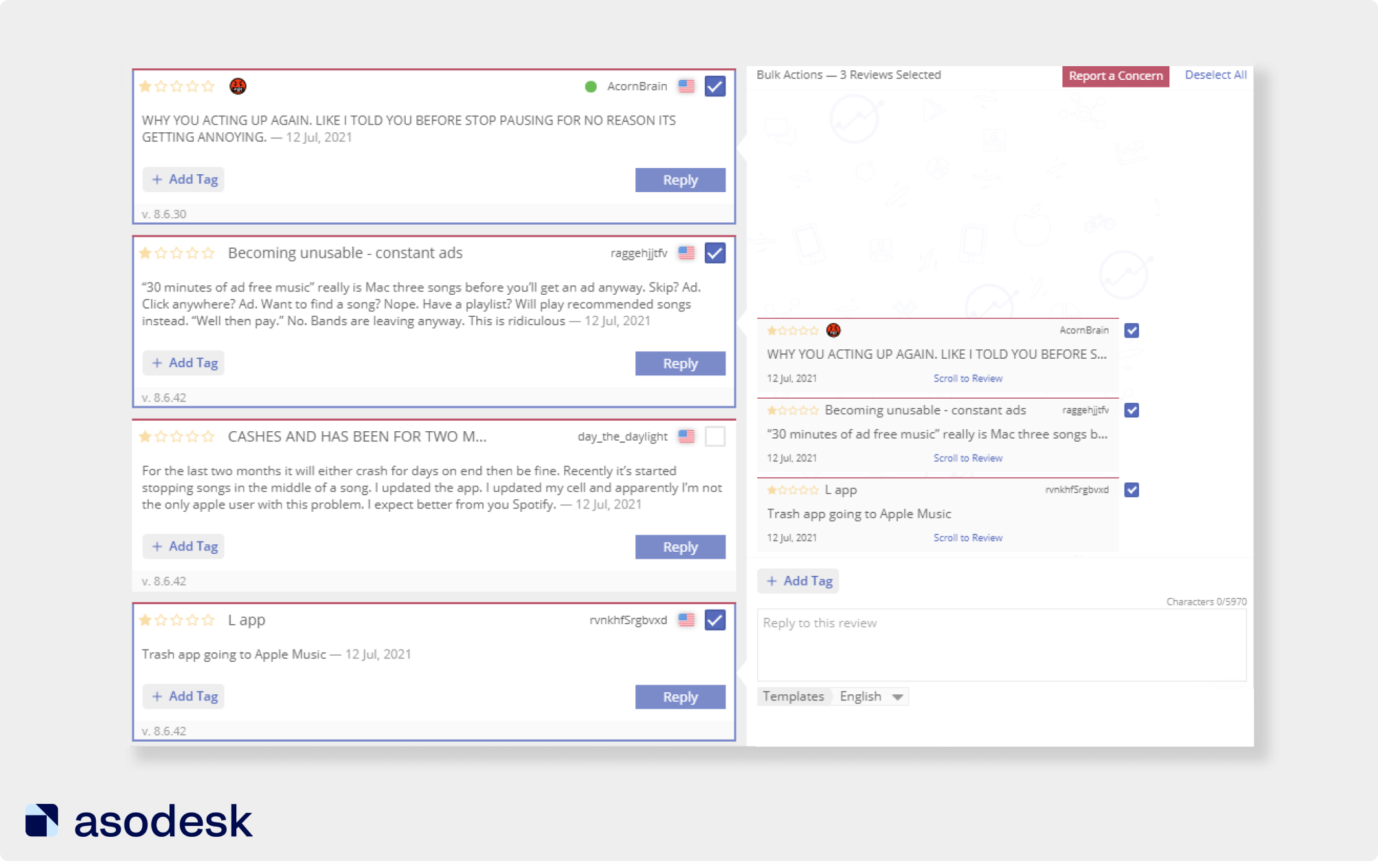 You can report one or more reviews of an app in the App Store or Google Play via Asodesk