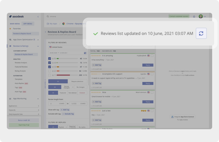 In Asodesk, you can update the spreadsheet and analyze new app reviews from the App Store and Google Play
