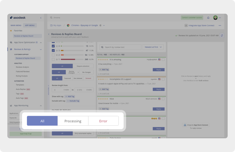 In Asodesk, you can check for app reviews, which are currently being submitted to the App Store or Google Play