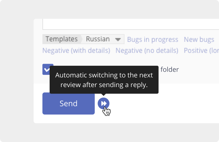 Asodesk has a button to continuously switch between app reviews from the App Store and Google Play