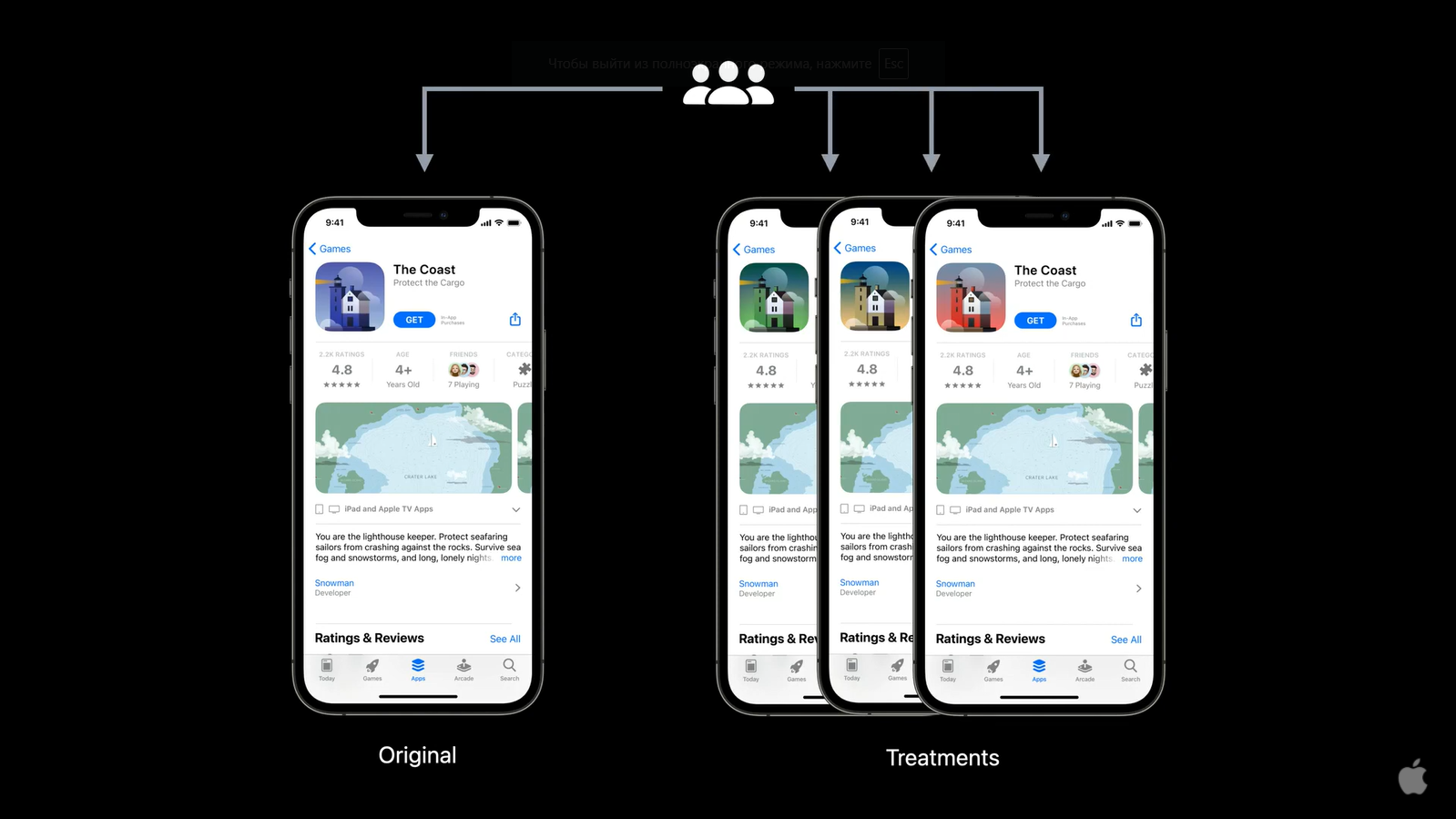 Product page optimization in the App Store allow to test three variants of app page