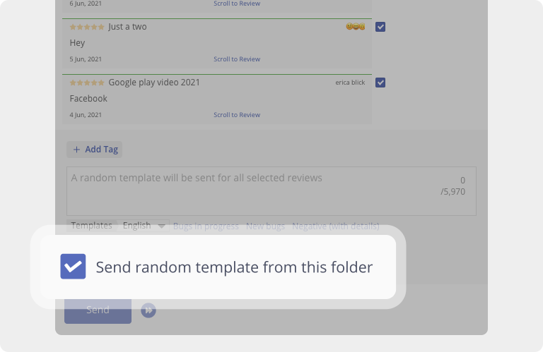 In Asodesk, you can reply to reviews from the App Store and Google Play using random templates