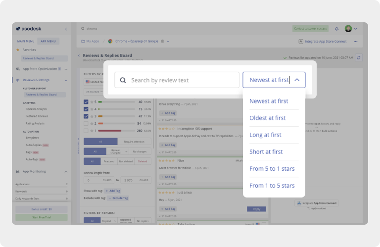 Sorting reviews from the App Store and Google Play in Reviews & Replies Board in Asodesk