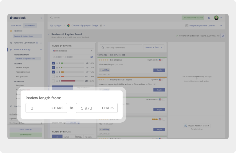 In the Reviews & Replies Board table in Asodesk, you can analyze reviews from the App Store and Google Play with a certain number of characters