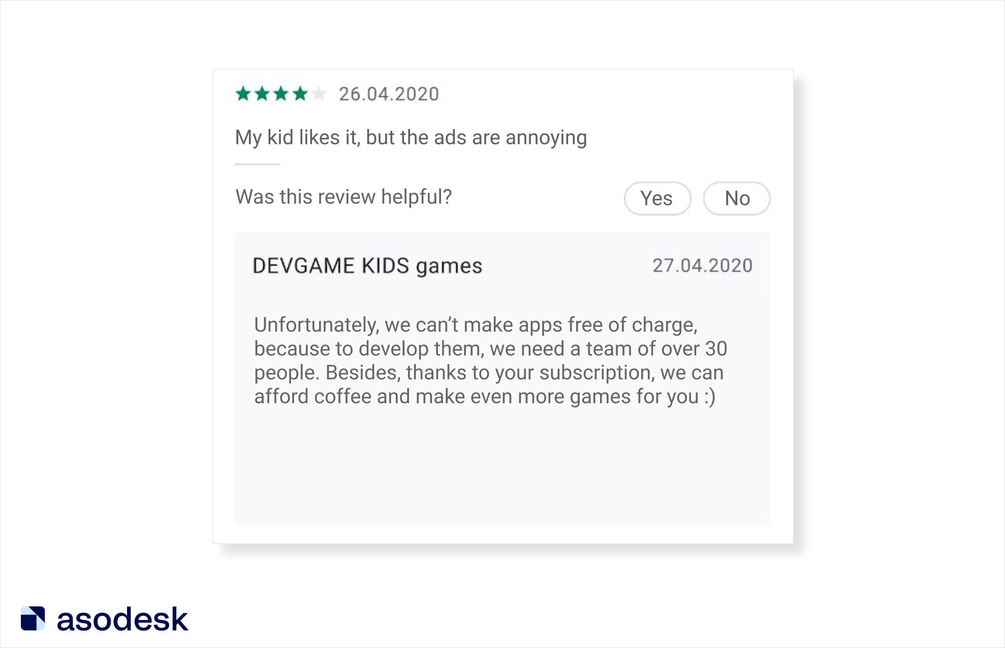 The developer explained to the user why it is impossible to make a children's application free