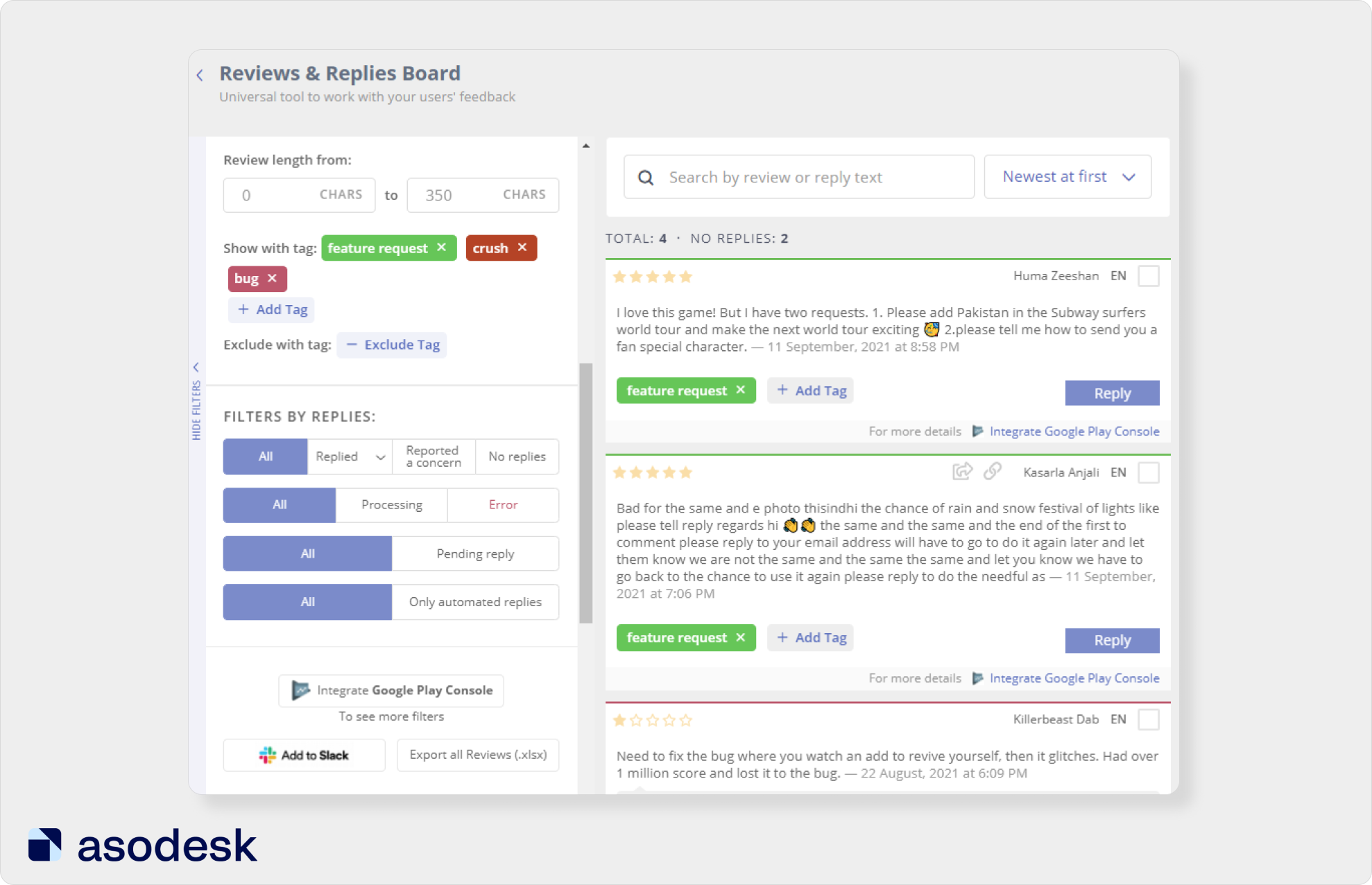In Reviews & Replies Board you can choose tags for reviews