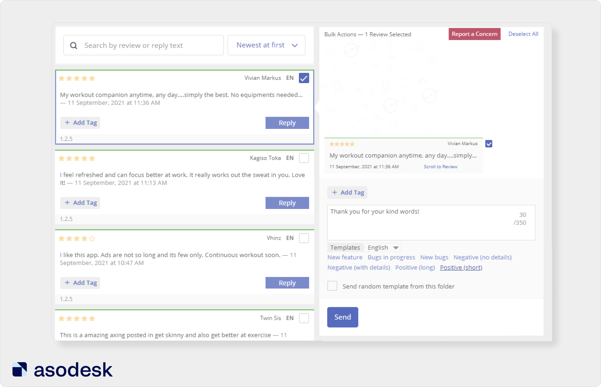 You can reply to a review using a template in Asodesk