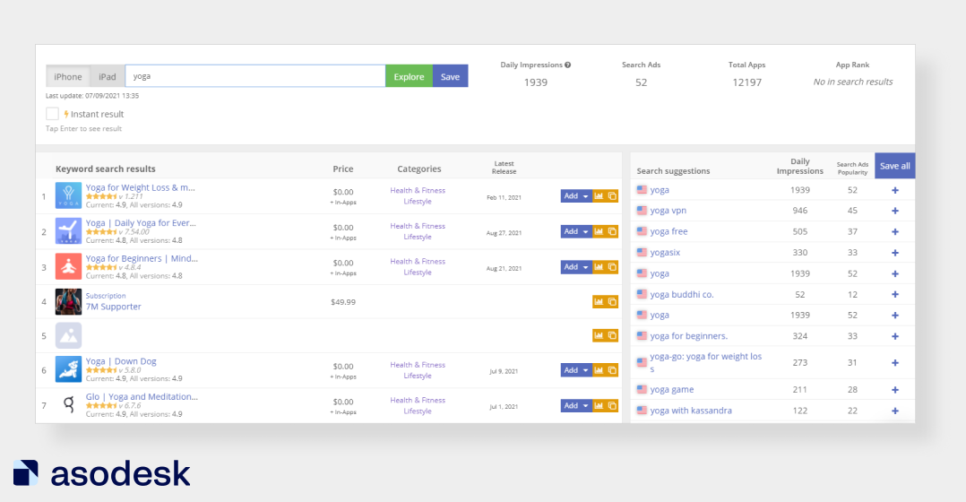 Keyword Explorer in Asodesk shows popuraity and search results on query